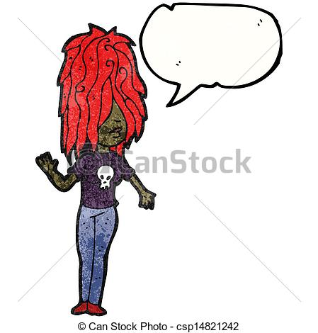 449x470 Cartoon Punk Girl With Speech Bubble Eps Vector