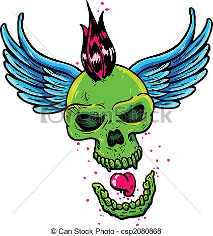 423x470 Punk Tattoo Style Skull With Wings