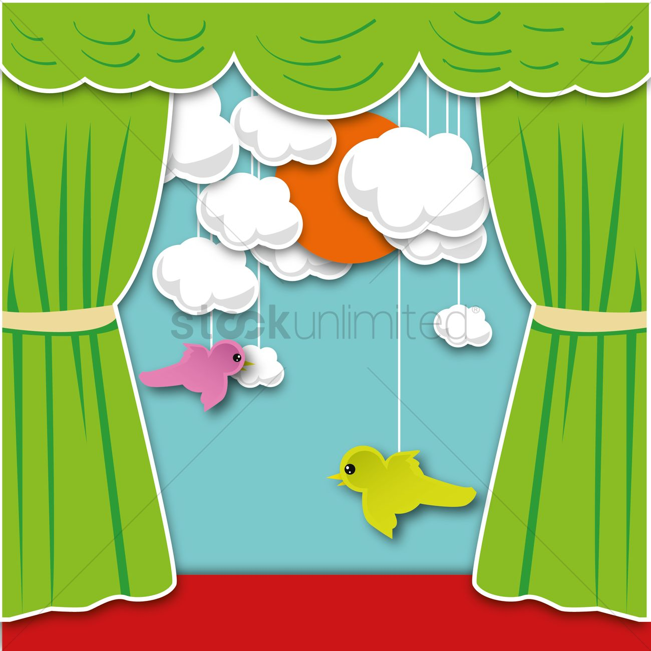 1300x1300 Puppet Show Vector Image
