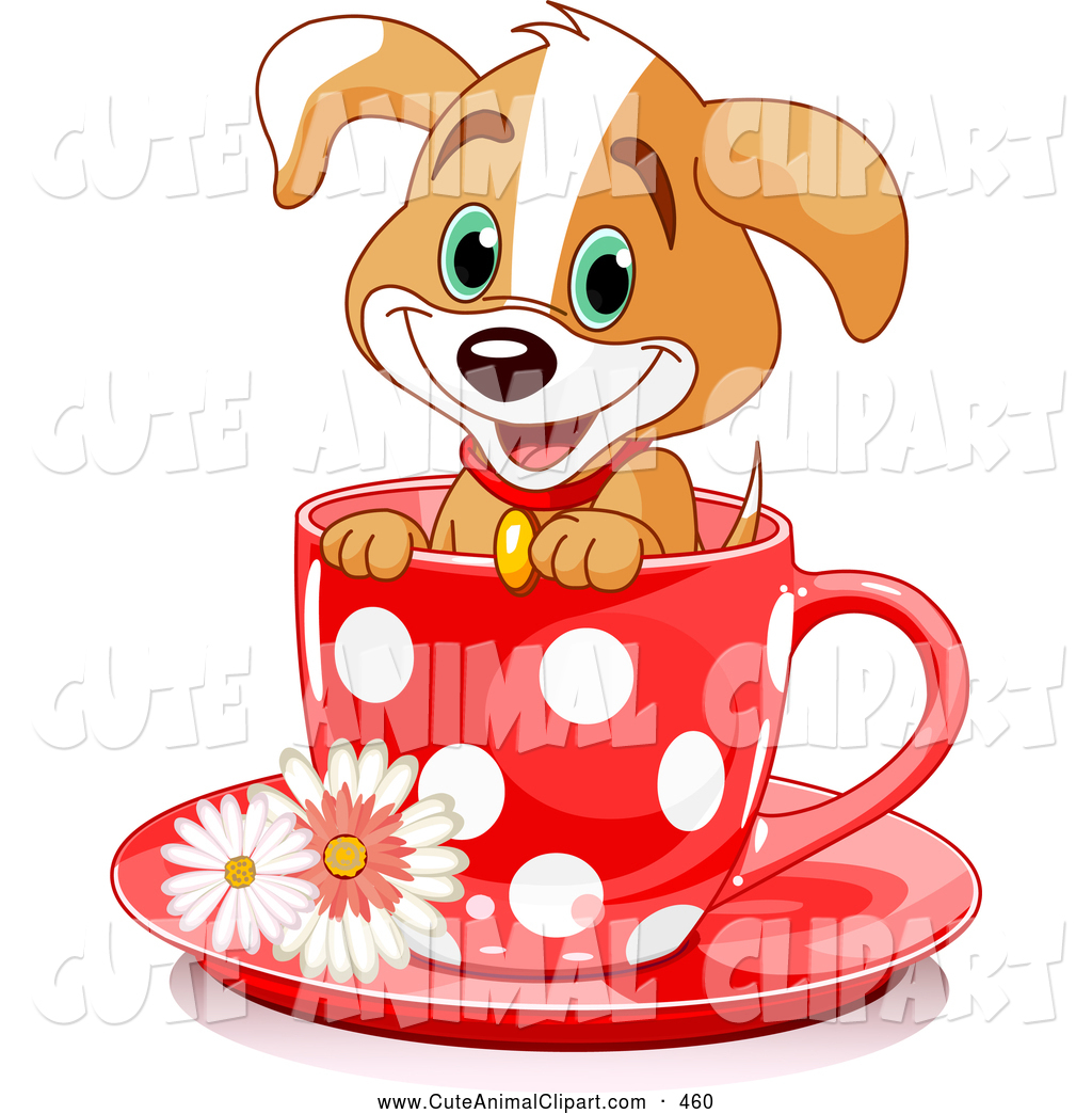 1024x1044 Clip Art Of A Happy Adorable Puppy Dog In A Red Polka Dotted Tea