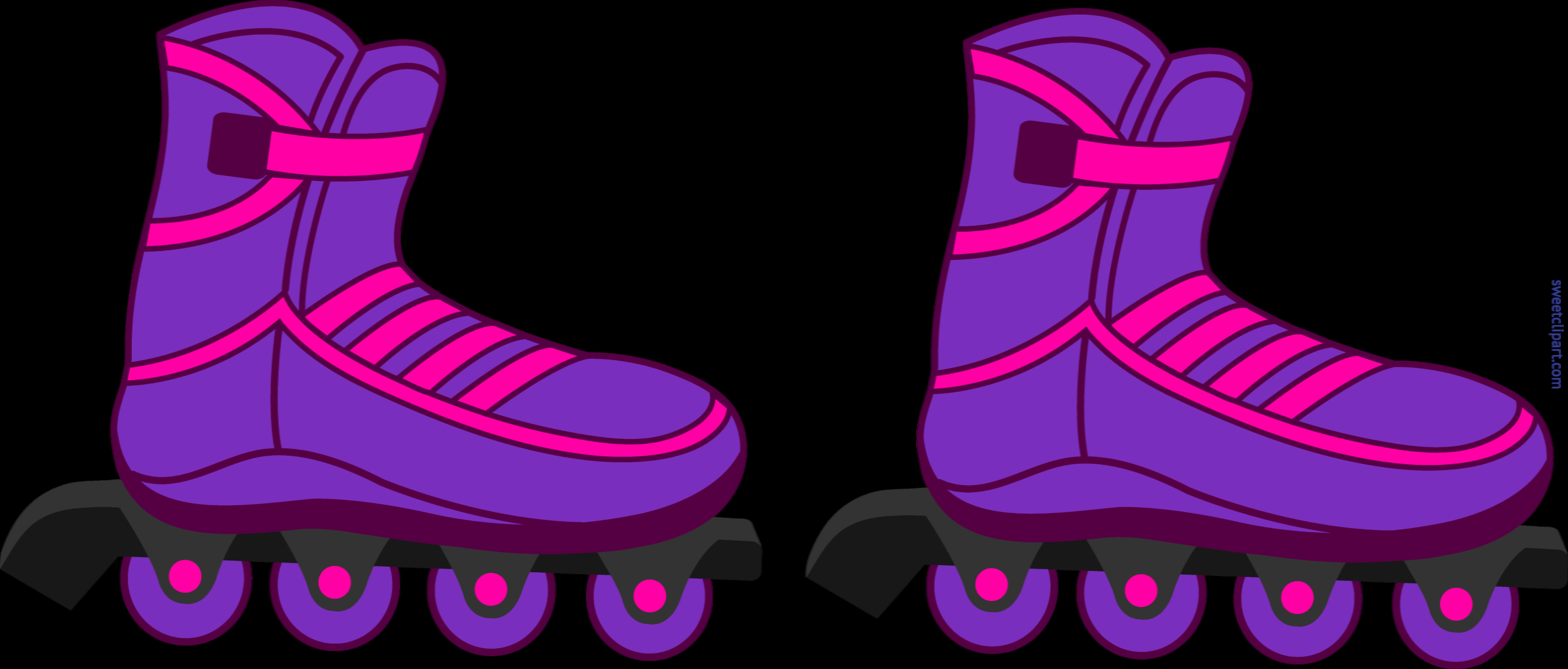 8285x3534 Rollerblades Purple Clip Art