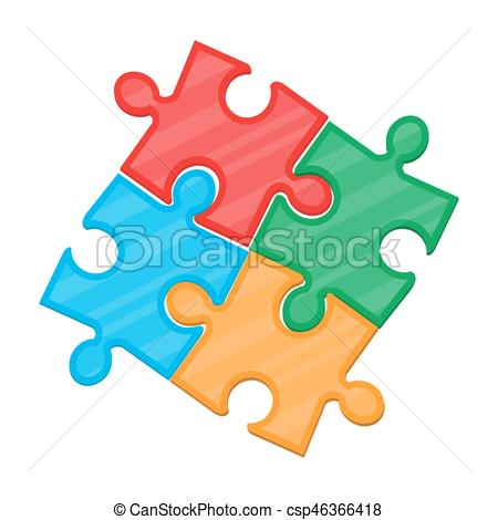 450x470 Colorful Jigsaw Puzzle In Four Pieces. Vector Illustration