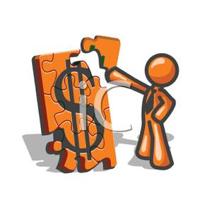 300x300 Vector Orange Man Putting Together A Money Puzzle Clip Art Image