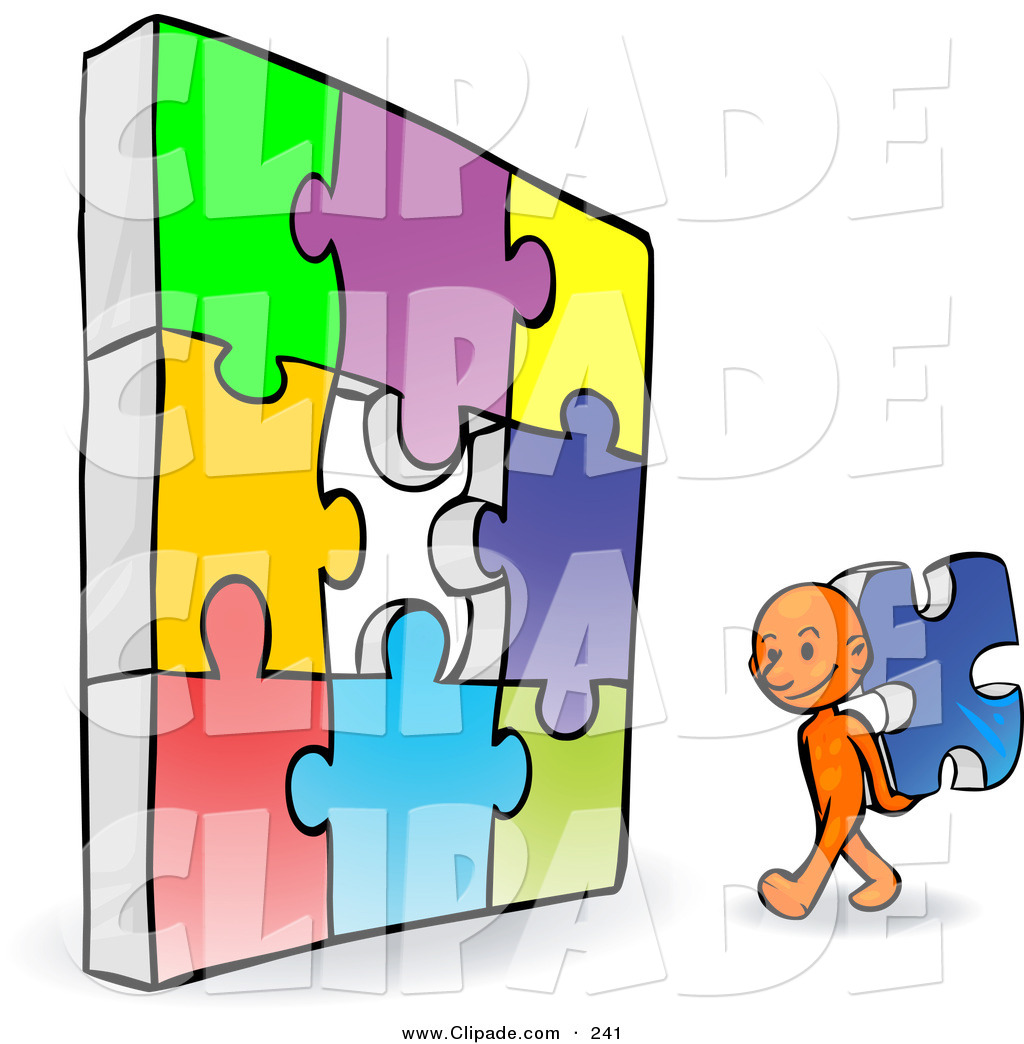 1024x1044 Clip Art Of A Orange Smart Cartoon Character Completing Jigzaw