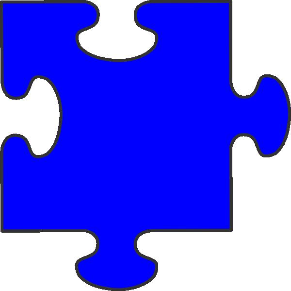 600x599 Blue Border Puzzle Piece Clip Art