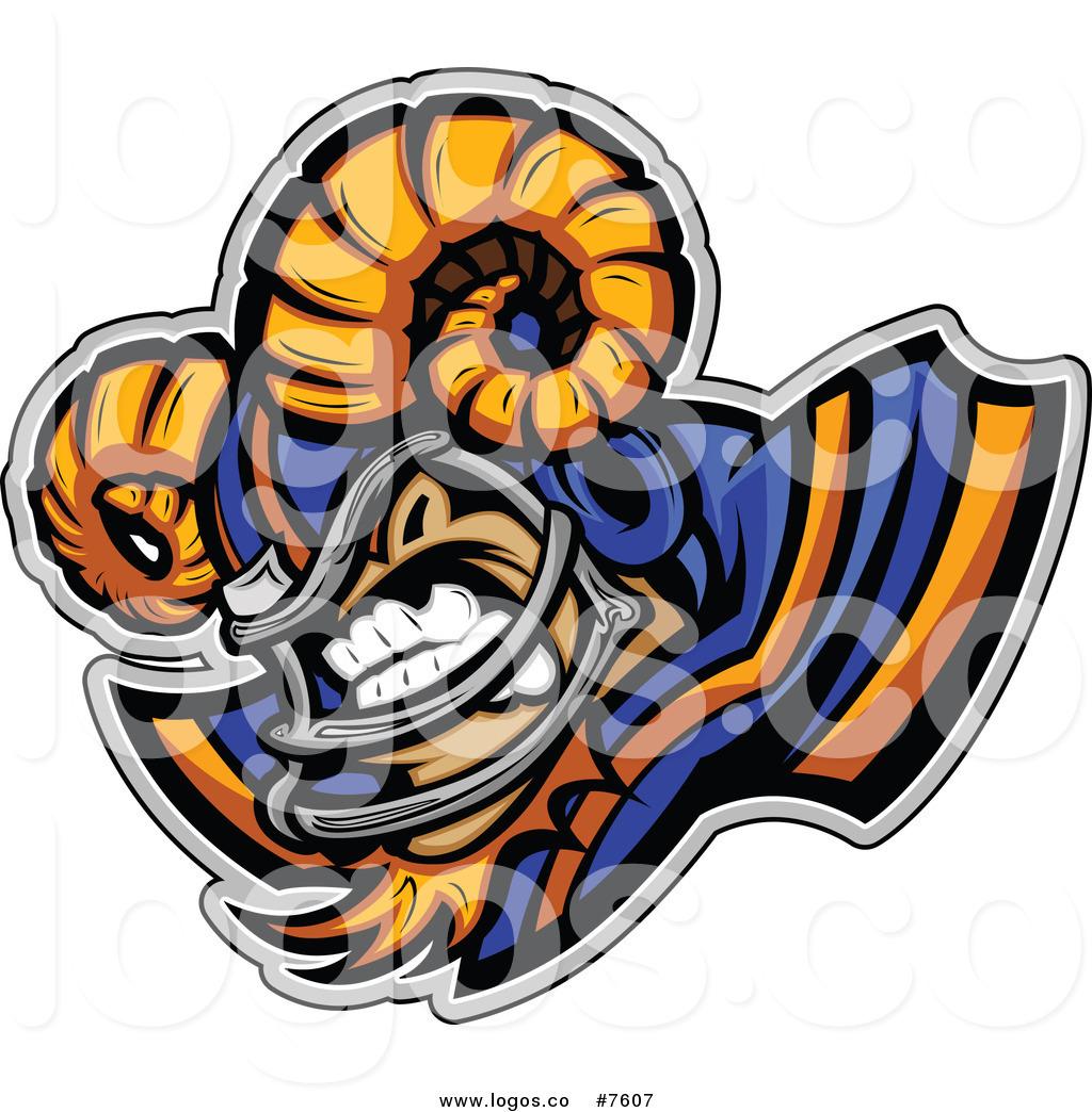 1024x1044 Royalty Free Clip Art Vector Logo Of A Ram Football Player Mascot