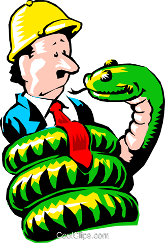 325x480 Cartoon Man With Python Royalty Free Vector Clip Art Illustration