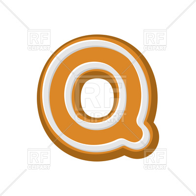 400x400 Letter Q Gingerbread Font Royalty Free Vector Clip Art Image