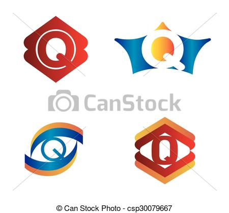 450x419 Letter Q Set Alphabetical Logo Design Concepts Clip Art Vector