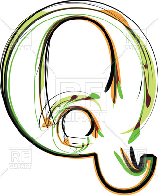 325x400 Organic Type Letter Q Royalty Free Vector Clip Art Image