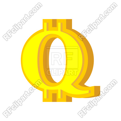400x400 Q Letter Bitcoin Font Royalty Free Vector Clip Art Image