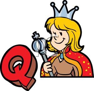 300x291 Clip Art Image The Letter Q Next To A Queen Holding A Crown