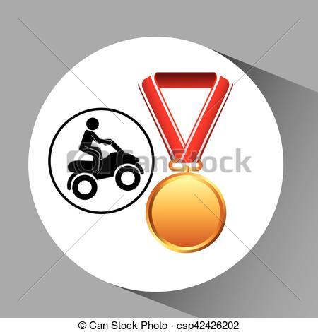 450x470 Quad Bike Medal Sport Extreme Graphic Vector Illustration Eps 10.