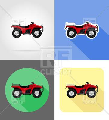 362x400 Red Atv Motorcycle On Four Wheels Flat Icons Royalty Free Vector