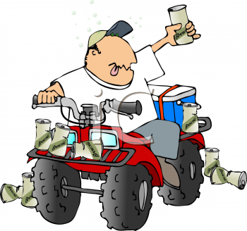 350x328 Royalty Free Clipart Image Of A Man Drinking On An Atv Man