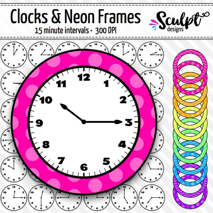 736x736 Clock Faces Clip Art ~ Every 15 Minutes ~ With Neon Frames Clock