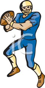 156x300 A Colorful Cartoon Of A Quarterback Looking For A Receiver