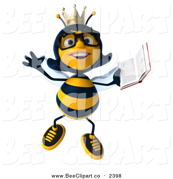600x620 Clip Art Of A 3d Bespectacled Queen Bee Jumping With A Book By