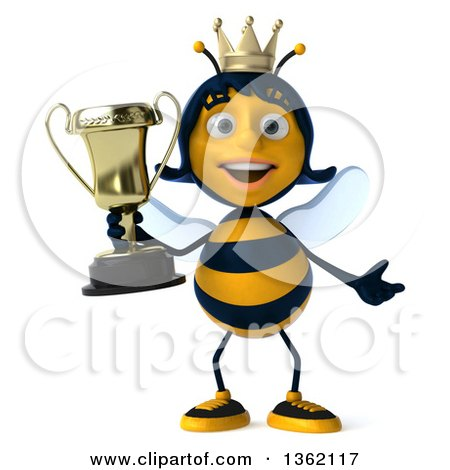 450x470 Clipart Of 3d Queen Bee Presentingnd Holding Trophy, On