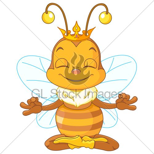 500x500 Cute Queen Bee Sitting In The Lotus Position And Meditates