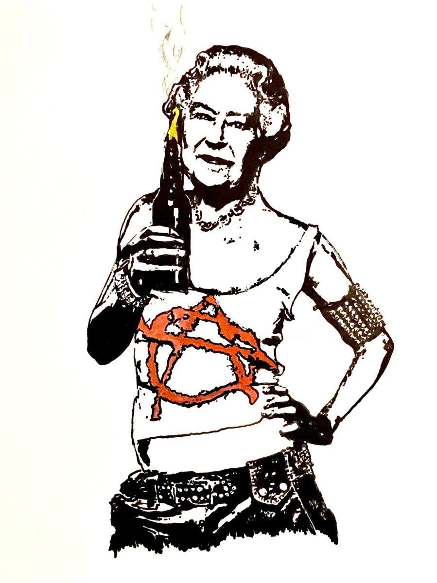 899x1200 Anarchist Queen Elizabeth Ii (Peinture), 80x60x2 Cm Par John Von