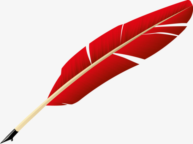 650x485 Hand Painted Quill, Red, Feather, Hand Pen Png Image And Clipart