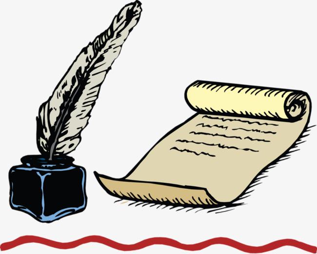 650x521 Retro Hand Drawn Cartoon Books Quill, Ink, Writing Brush, Books