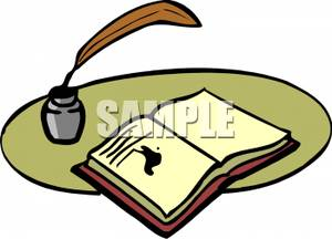 300x216 An Open Book With An Ink Blot And A Feather Quill