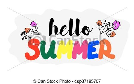 450x282 Hello Summer Quote. Hand Draw Letters. Summer Background Vector