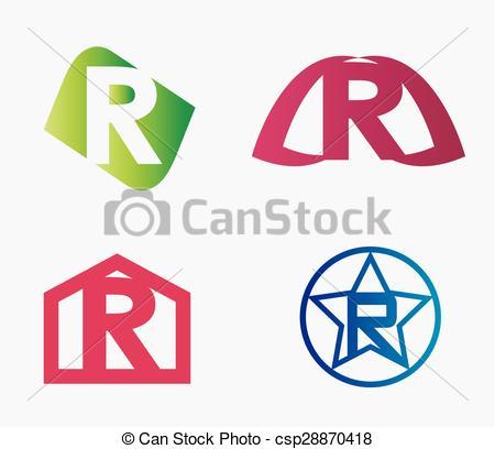 450x408 Letter R Logo Icon Set Vector Clip Art