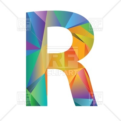 400x400 Motley Polygonal Font, Letter R Royalty Free Vector Clip Art Image