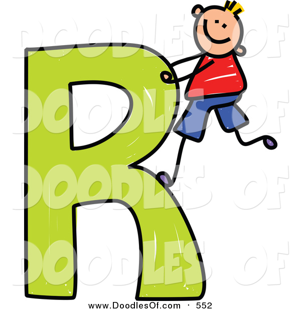 600x620 Vector Clipart Of Doodled Happy Blond White Boy Climbing