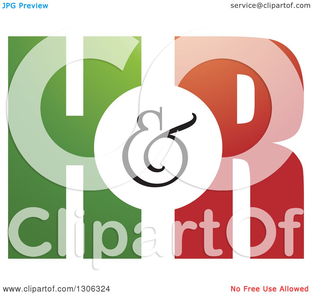 1080x1024 Clipart Of A Gradient Green And Red H And R Letter Alphabet Design