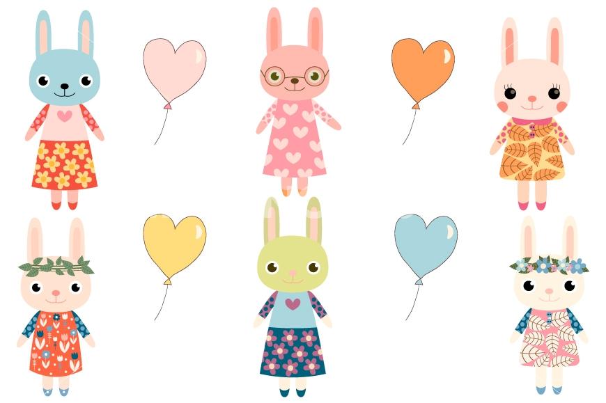 870x579 Cute Bunny Clipart, Girl Bunny Clip Art, Easter Rabbit, Baby