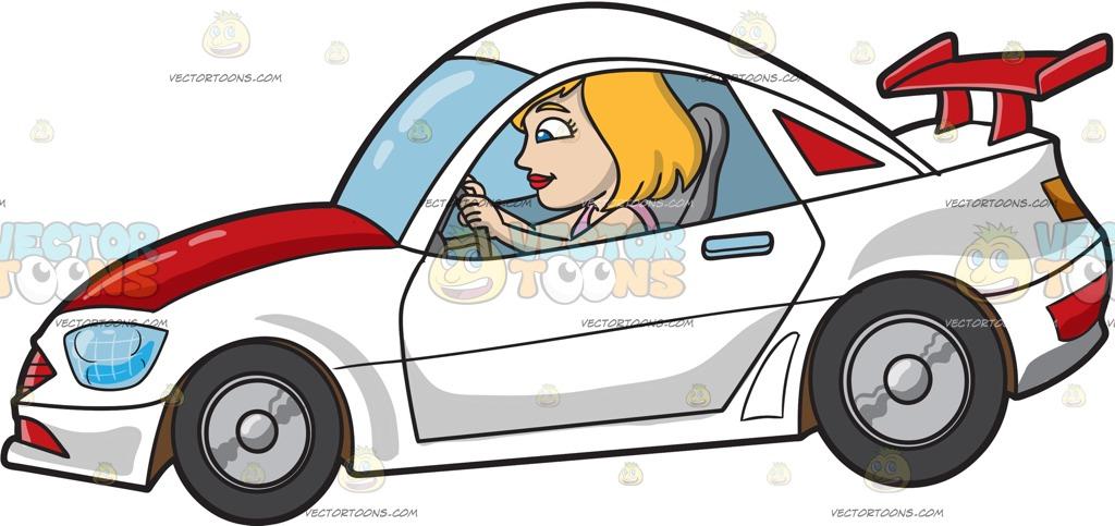 1024x483 A Woman Driving A White Race Car Cartoon Clipart Vector Toons