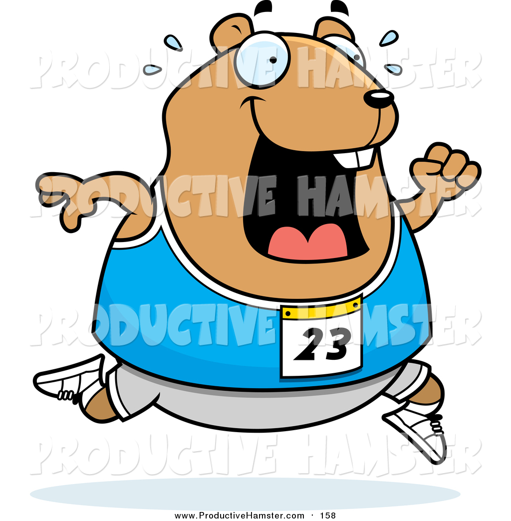 1024x1044 Clip Art Of A Sweaty Chubby Hamster Running A Track And Field Race