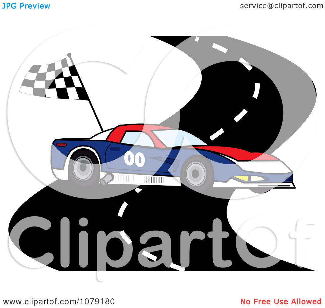 1080x1024 Clipart Red White And Blue Race Car On A Track With A Checkered