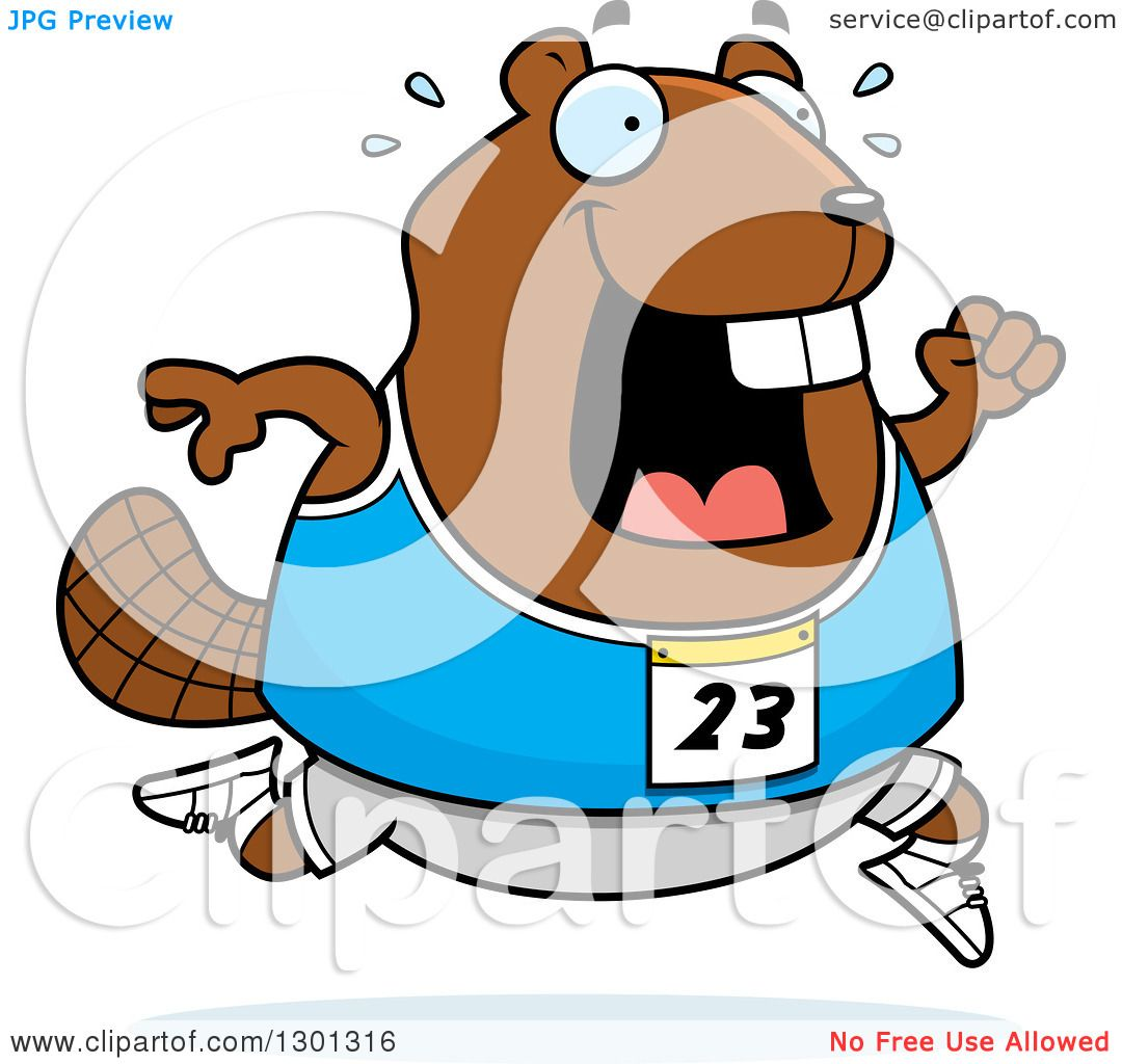 1080x1024 Clipart Of A Cartoon Sweaty Chubby Beaver Running A Track
