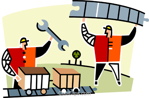 480x316 Two Men Working On The Railroad Royalty Free Vector Clip Art