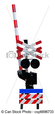 230x470 Open Railroad Crossing, Isolated Against Background Stock Photos