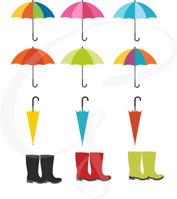 570x643 Umbrella Clipart, Wellies, Galoshes, Rain Boots, Digital Clip Art