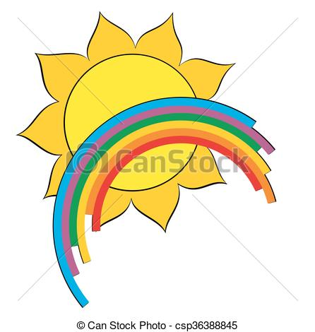 446x470 Logo Of Sun And Rainbow. A Logo Of Bright Sun With Eps Vector