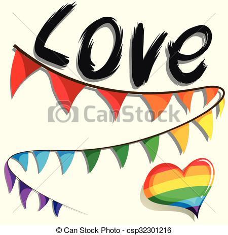 450x463 Rainbow Flag And Heart Illustration Vector Clip Art