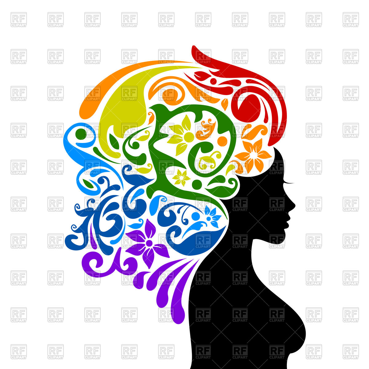 1200x1200 Woman With Rainbow On Head Royalty Free Vector Clip Art Image