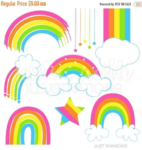 570x604 This Just Rainbows Clipart Set Comes With 8 Cute Pink Rainbow