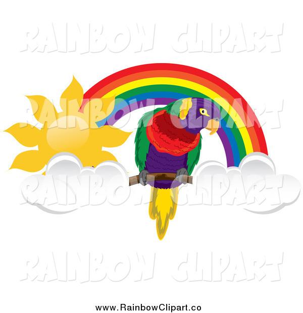 600x620 Vector Clip Art Of A Parrot Under A Sunny Rainbow Arch By Pams