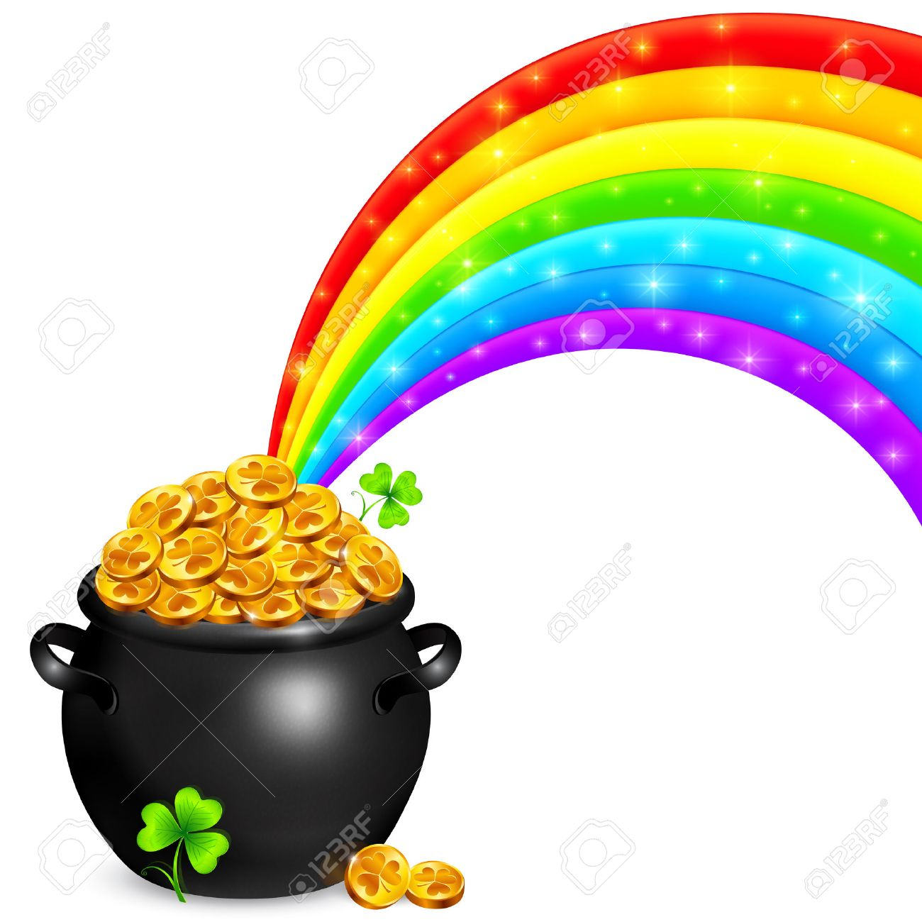 1300x1300 Nobby Design Rainbow And Pot Of Gold Clipart Clip Art Image