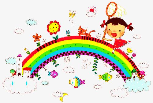 500x335 Children Painted Rainbow On, Fish, Rainbow, Sun Png Image