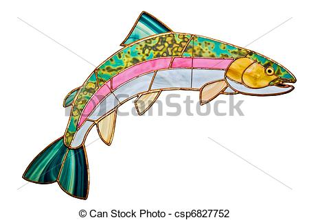 450x321 Stained Glass Trout. A Decorative Rainbow Trout Design Made