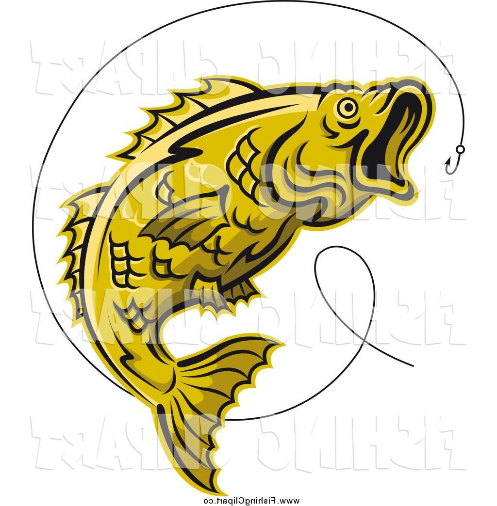 1024x1044 Best 15 Clip Art Of Leaping Yellow Trout Fish And Hook By Vector